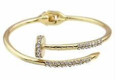 Bracelet Bangle Nail Clou Plaqué Or Jaune Gold Style Love Strass Open cuff