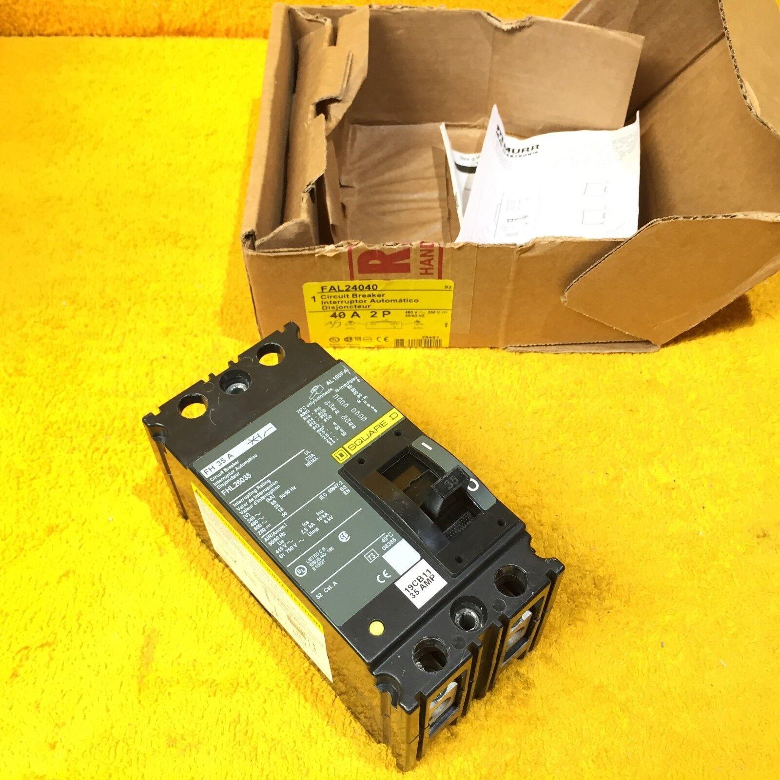 * SQUARE D  35 AMP 2 POLE 600V  CIRCUIT BREAKER  FHL26035 ....... WA-126