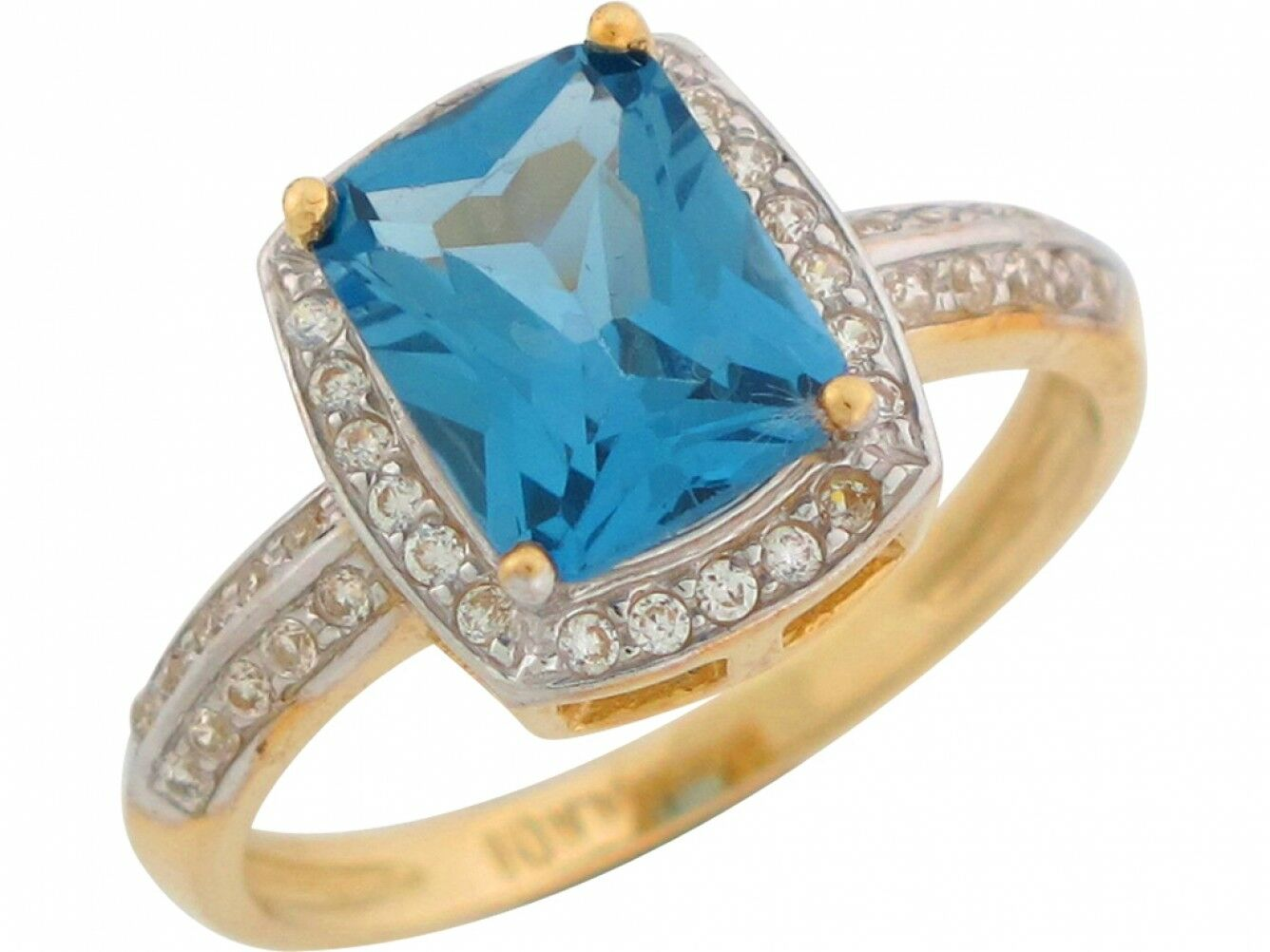 10k or 14k Two Tone gold Simulated bluee Zircon White CZ December Birthstone Ring