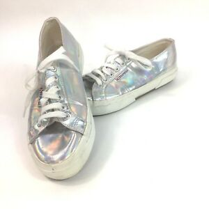feaf9bc61d47 Superga Silver Holographic Tennis Shoes Womens US 8 EU 39 Mens 6.5 ...