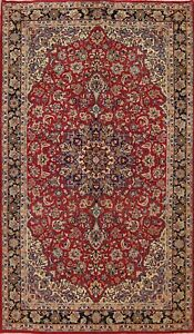 Vintage Floral Traditional Area Rug Wool Hand-knotted Oriental Carpet 7x11 RED