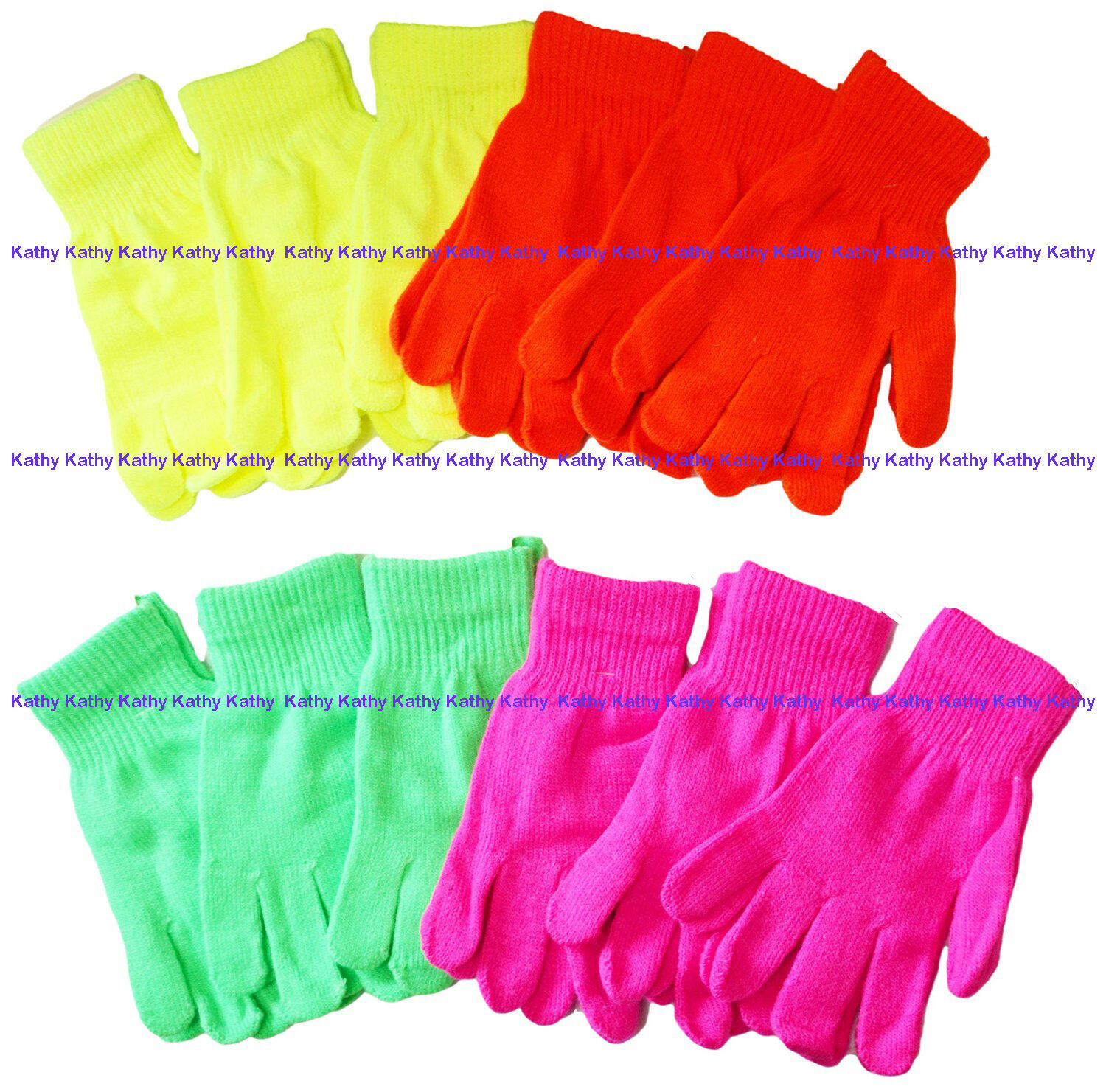 Assorted Neon Bright Color Knit Magic Ski Sports Gloves Unisex Wholesale Lot NY
