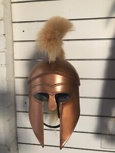 GREEK-CORINTHIAN-HELMET-COPPER-COLOUR-FINISH-BLONDE-PLUME