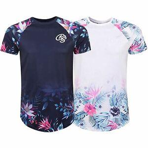 Mens-Crosshatch-Short-Sleeve-Floral-T-Shirt-Top-Tee-Printed-Sleeve-Crew-Neck