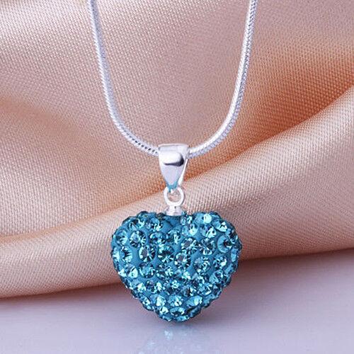 Am /_ lc /_ Mujer Moda Estrás Amor Corazón Colgante Collar Gargantilla Cadena Joya