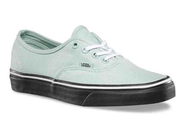 746baef6e6d6c2 VANS Authentic Mens Black Outsole MINT Green Canvas Skate Shoes Size ...
