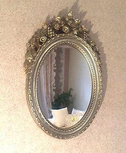 Specchio muro oggetto d 39 antiquariato argento ovale specchio bagno ebay - Specchio ovale per bagno ...