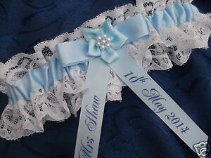 Image Is Loading PERSONALISED BLUE BRIDE WEDDING GARTER NEW IN BOX