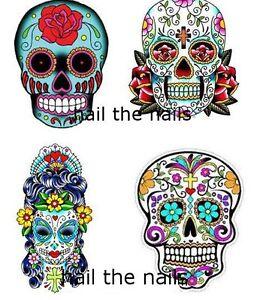 Nail-WRAPS-Nail-Art-Water-Transfers-Decals-20-Mixed-Set-Sugar-Skulls-YD056