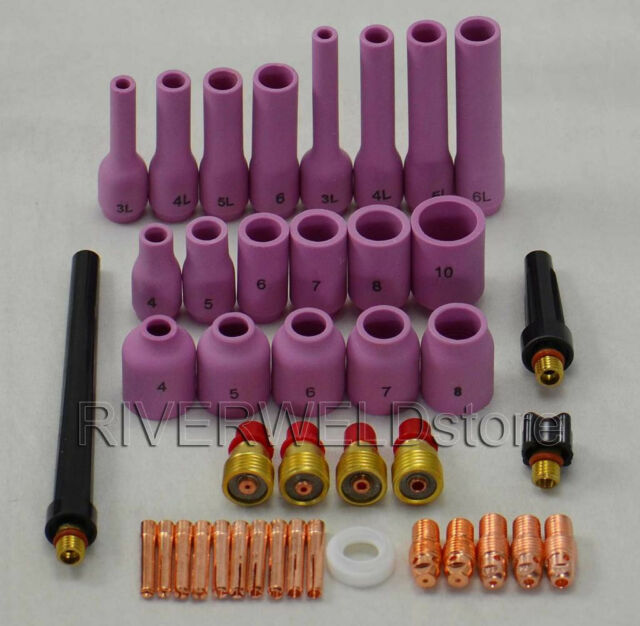 TIG Gas Lens KIT,Back Cap Collet Body Fit TIG Welding Torch SR WP9 20 25,42PK