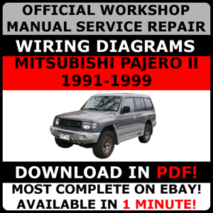 Official Workshop Repair Manual For Mitsubishi Pajero Ii 1991 1999 Wiring Ebay
