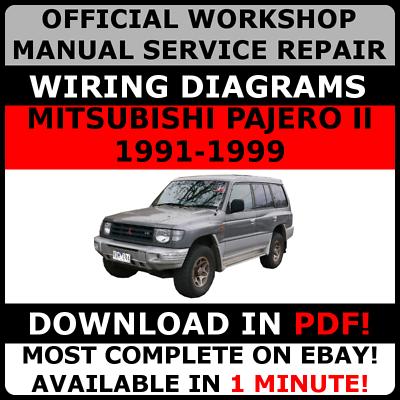 official workshop repair manual for mitsubishi pajero ii 19911999 wiring    ebay