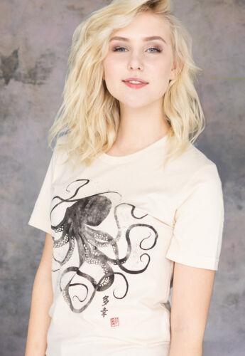 Octopus Japanese Art Calligraphy T Shirt Yoga Anime Manga Japan Women/'s Mens Tee