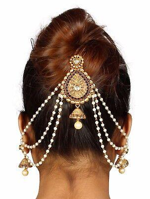 Indian Hair Ethnic Women Accessory Wedding Jewelry Goldtone