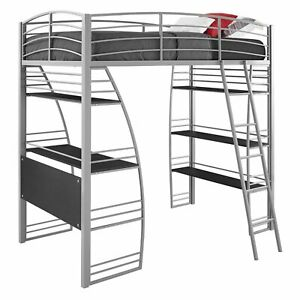 Details About Dorel DHP Studio Twin Metal Loft Bed With Desk And Shelves,  Silver. Bunk Bed