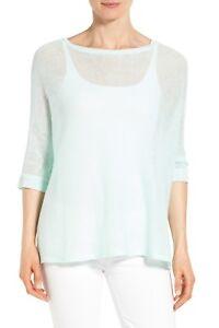NWT-Eileen-Fisher-Organic-Linen-Knit-Bateau-Neck-Boxy-Top-M-Light-green