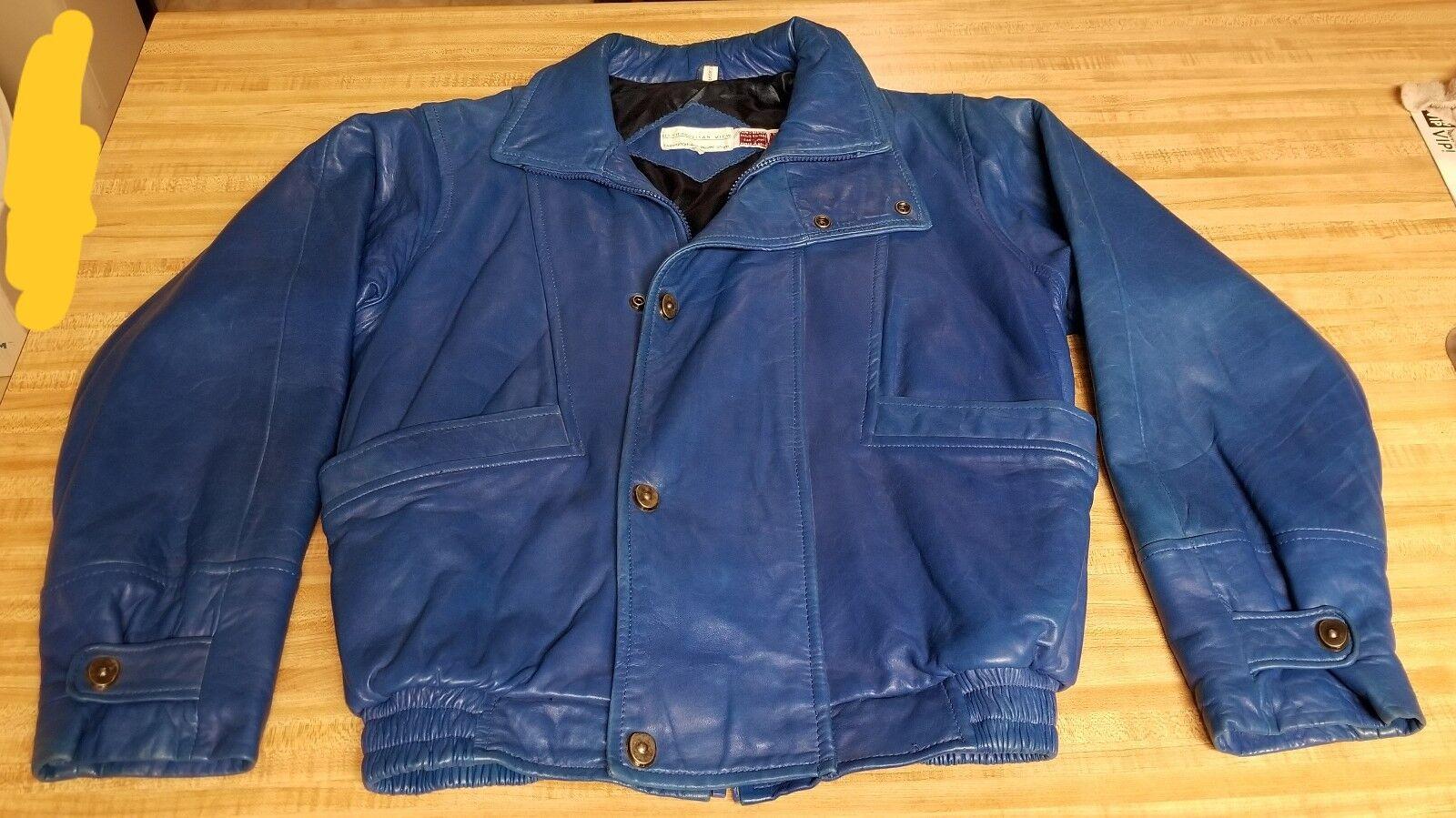 Metropolitan View para  hombre bomber de aviador moto cuero chaqueta azul talla 38  ganancia cero