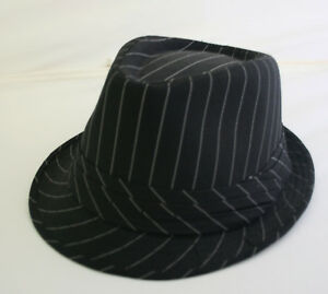b3a913feabb Image is loading Pinestripe-black-check-mens-Trilby-Hat-Small-To-