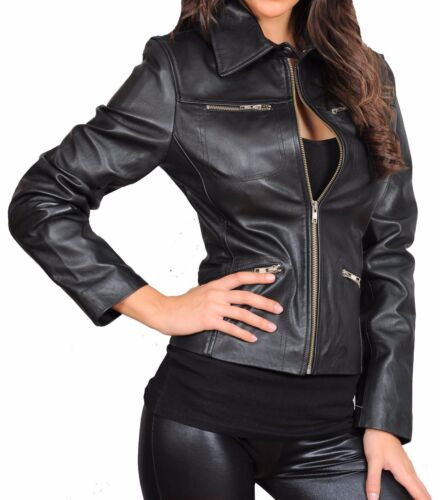 Fitted Læder Zip Biker Up Jakke Dame Black Zoe Coat Style Classic Designer 8AxwXqpEE