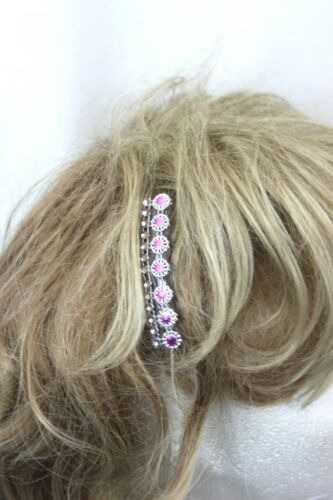 A 2 pack of Hair Slides 7cm with Pink Centers and Diamante effect