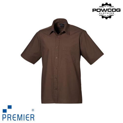 PREMIER MENS SHORT SLEEVE Plain Poplin Work Shirt • Polycotton PR202 • ALL SIZES