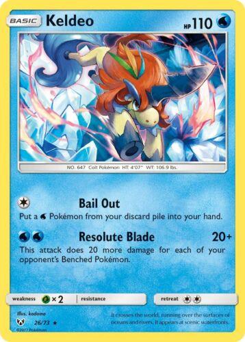 - NM 2017 Keldeo 26//73 Rare Holo Pokemon Card Shining Legends Set