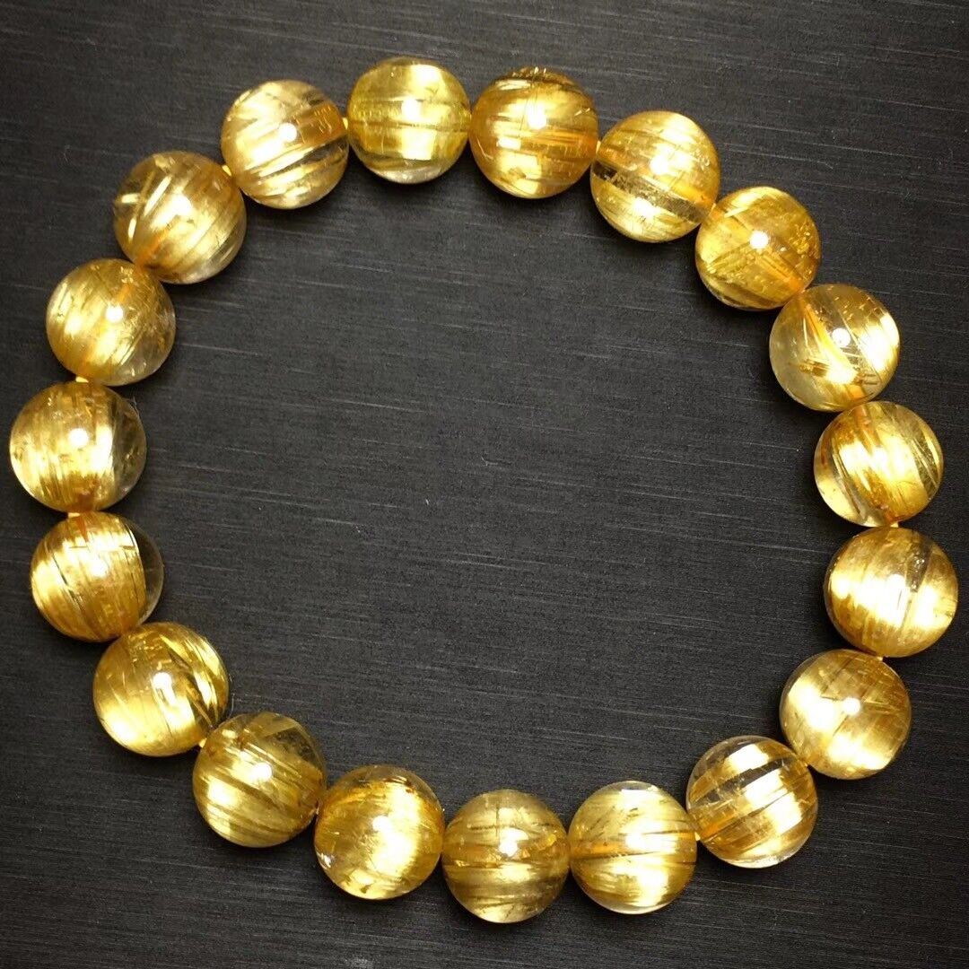 10mm Natural gold Rutilated Quartz Titanium Stretch Crystal Beads Bracelet