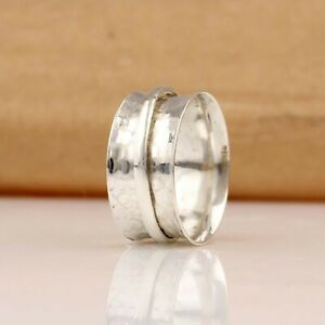Solid-925-Sterling-Silver-Spinner-Ring-Meditation-Ring-Statement-Ring-Size-RA44