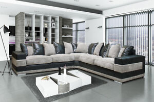 newest 314b8 ffcb1 Details about Ryzen Sofa Large Corner Sofa Leather-Fabric Black-Grey OR  Brown-Coffee
