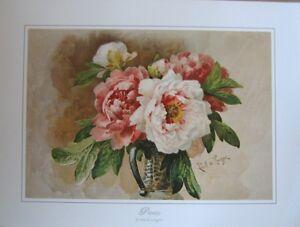 art-print-PEONIES-Paul-deLongpre-Victorian-Flowers-Floral-vintage-repro-20x15