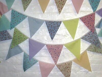 Shabby Chic Fabric bunting pastel, floral & dots wedding, garden party, 5 mt ff