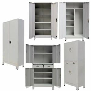 Filing Cabinet Metal 2 Doors Lockable Document Storage Cupboard Organizer w// Key