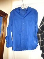 Peck & Peck Collection Cobalt Blue Size 16 Button Front Blouse Long Sleeve