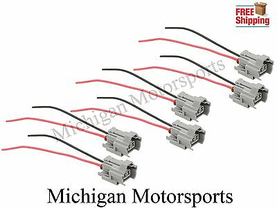 6 Denso Fuel Injector Connectors Bottom Slot Pigtails for Mazda WRX Side Feed