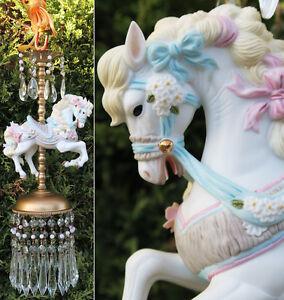Image Is Loading 1 Porcelain Pony Horse Carousel Lamp Swag Chandelier