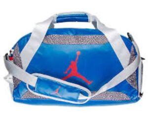 a9f7d65cc8d1 Nike Air Jordan Retro 3 III True Blue Duffle Gym Bag White Cement ...