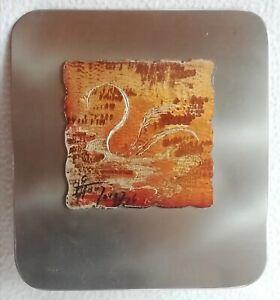 Plaque Tableau gravée en alu Design signature à identifier Prix d'art décoratif