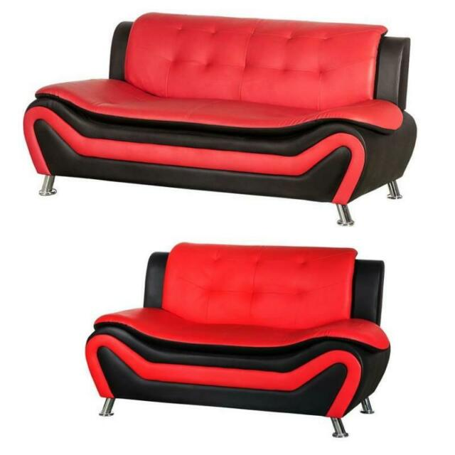 Awe Inspiring 2 Piece Living Room Set With 2 Tone Sofa And Loveseat In Black Red Inzonedesignstudio Interior Chair Design Inzonedesignstudiocom