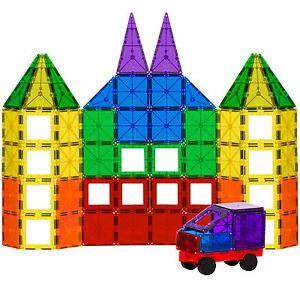 BCP 100-Piece Clear Multi Colors Magnetic Tiles Building Set Car & Carrying Bag