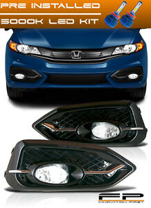 Led Bumper Fog Lights Lamps Kit Clear Switch Harness For