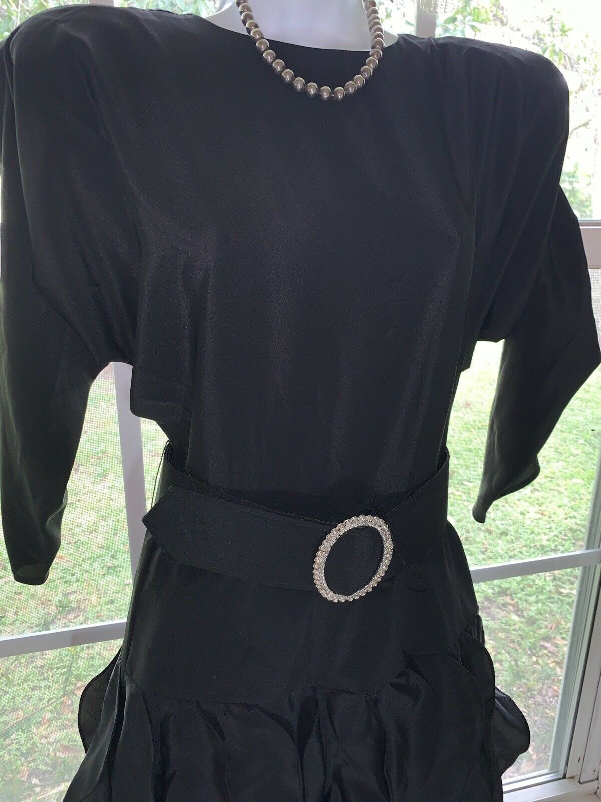 1980's Sexy Little Black Dress Rhinestone BELT RU… - image 3