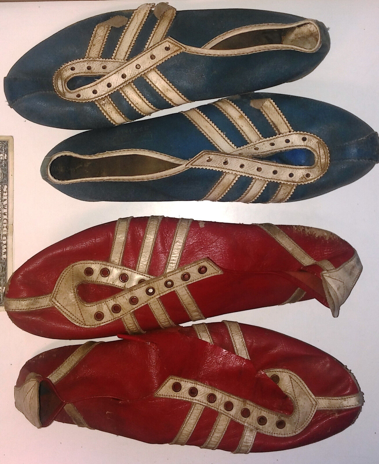 2 VINTAGE TRACK SHOES SOCCER CLEATS SPIKES 70s BLUE ADIDAS SPRINT + RED FRAZZANI