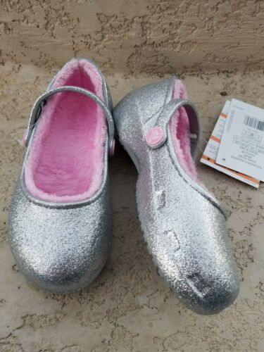 NWT Crocs Karin Girls Faux Fur Lined Clogs Metallic Silver Sparkly SELECT SIZE
