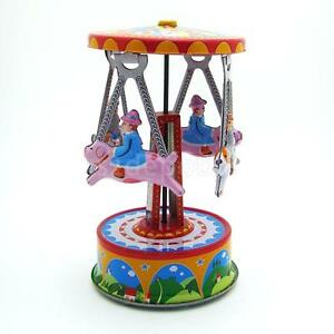 4 Man in Carousel Clockwork Retro WINDUP TIN TOY w/Box Collectible Kid Favor