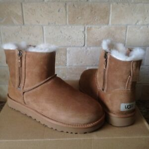 6dd9deab0eb Details about UGG Classic Mini Double Zip Chestnut Suede Sheepskin Boots  Size US 10 Womens NIB
