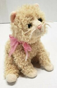 RETIRED ADORABLE PLUFF CURLY TAN CAT TY BEANIE BABIES STUFFED PLUSH ANIMAL 2004