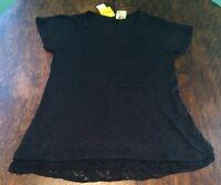 Women's Black Chenault Pocket Knit Over Sized Blouse Size Large L $68