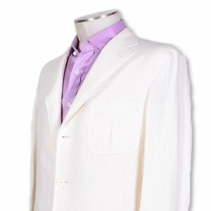 NWT-Belvest-White-100-Linen-1-4-Lined-Center-Vent-Three-Button-Sportcoat-38-38r