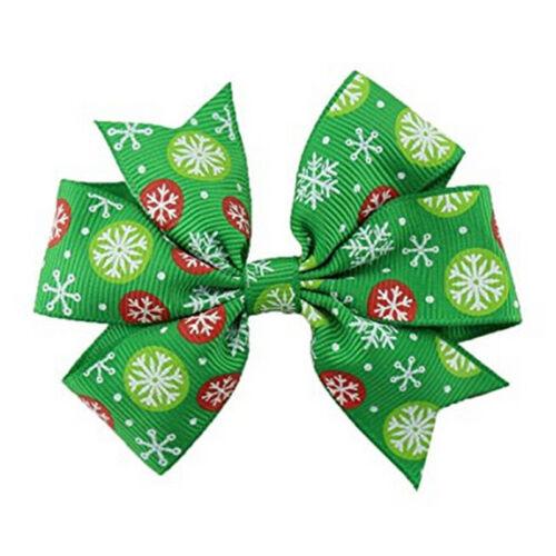6Pcs Girl Christmas Holiday Gift Snowflake Ribbon Hair Bows Clip Girl Hairpin FG