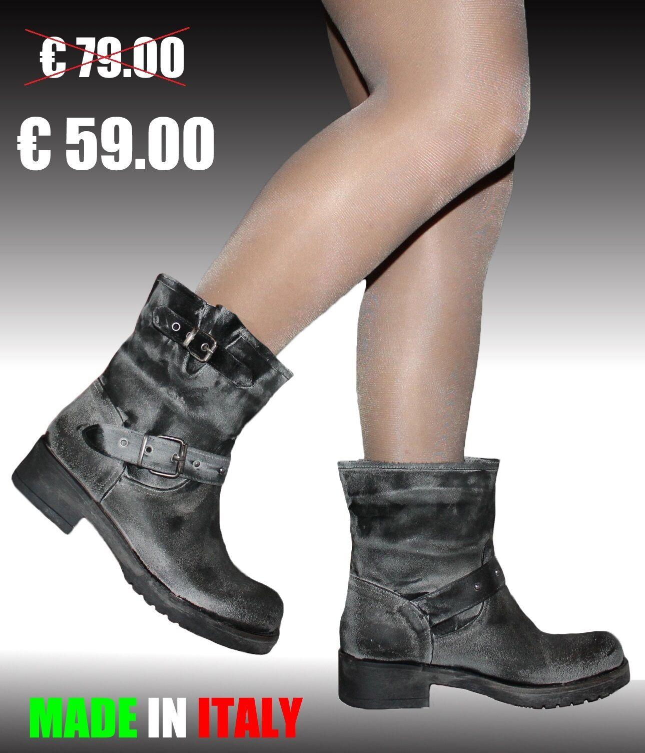 Stivali Stivaletti Biker boots Damenschuhe pelle camoscio 36 37 38 39 40 MADE ITALY